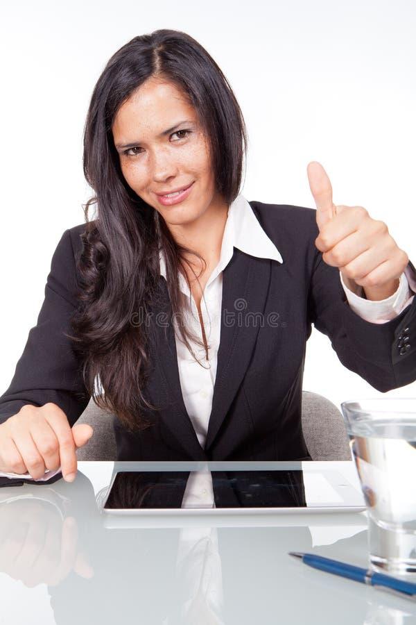 有积极态度的妇女 免版税图库摄影