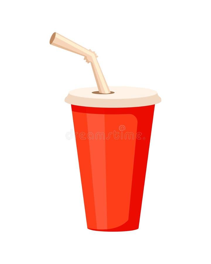 有秸杆象的塑料可乐杯子 库存例证