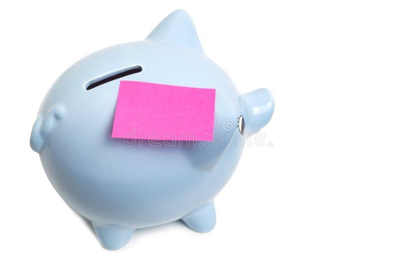 有稠粘的笔记的存钱罐 免版税库存照片