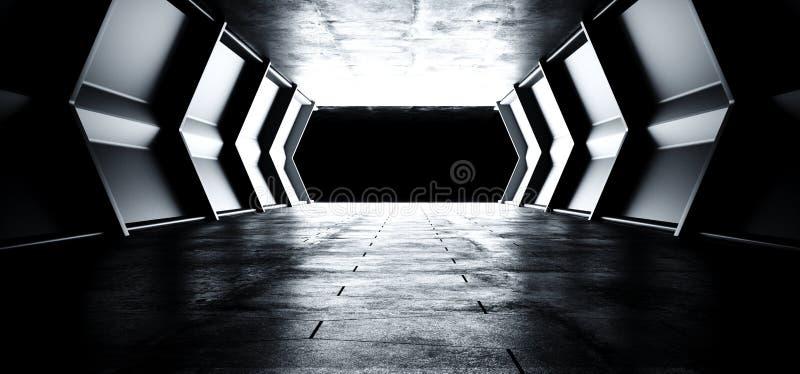 有空反射性金属纹理和难看的东西水泥的地板的科学幻想小说未来派外籍人船反射性空的明亮的隧道走廊 向量例证