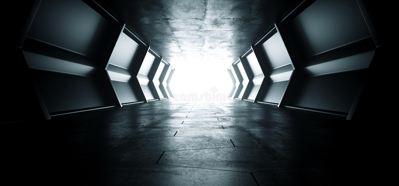 有空反射性金属纹理和难看的东西水泥的地板的科学幻想小说未来派外籍人船反射性空的明亮的隧道走廊 库存例证