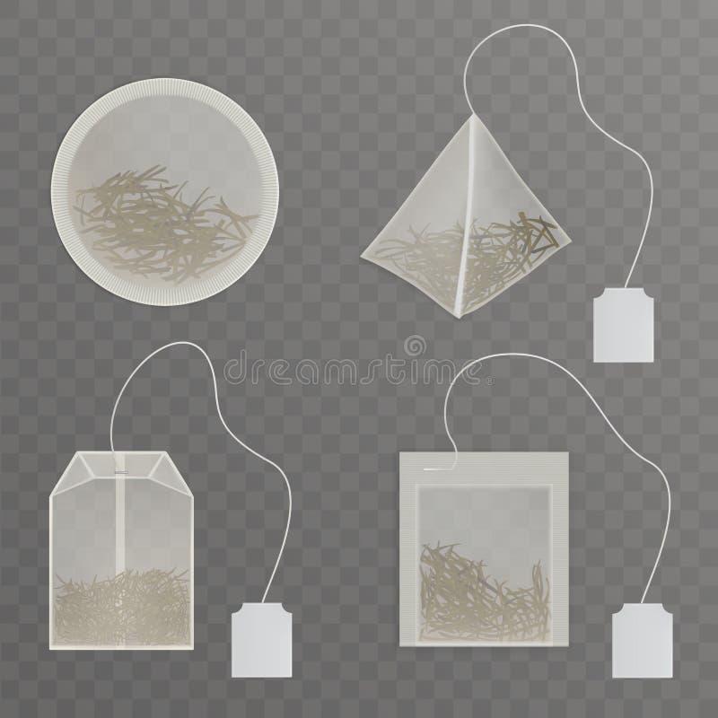 有空白标记现实传染媒介收藏的茶袋 库存例证