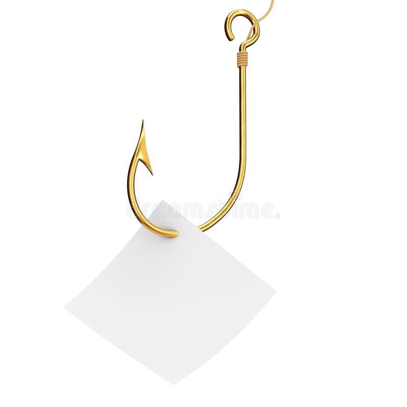 有空白的便条纸的金黄钓鱼钩 3d翻译 向量例证