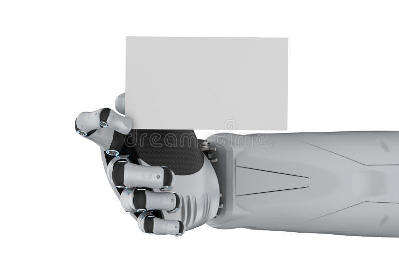 有空白的名片的机器人 向量例证