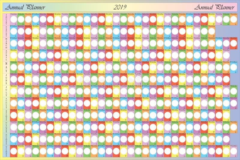 有空白的圆的笔记和具体颜色的fo每年计划者2019年 库存例证