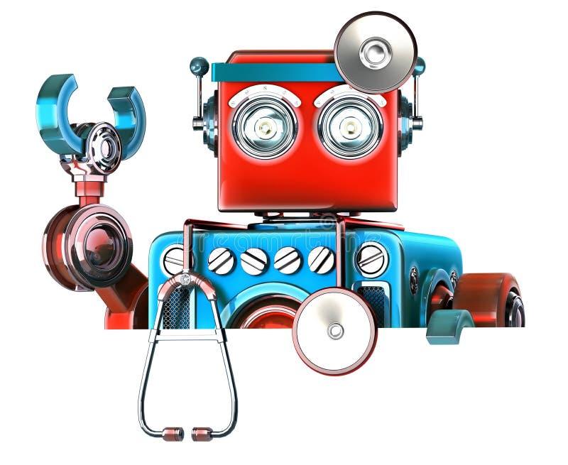 有空白的委员会的军医机器人 查出 包含裁减路线 向量例证