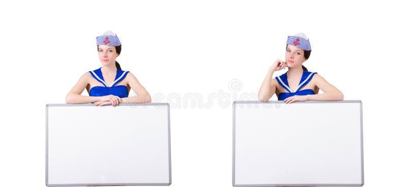 有空白的委员会的空中小姐白色的 免版税库存照片