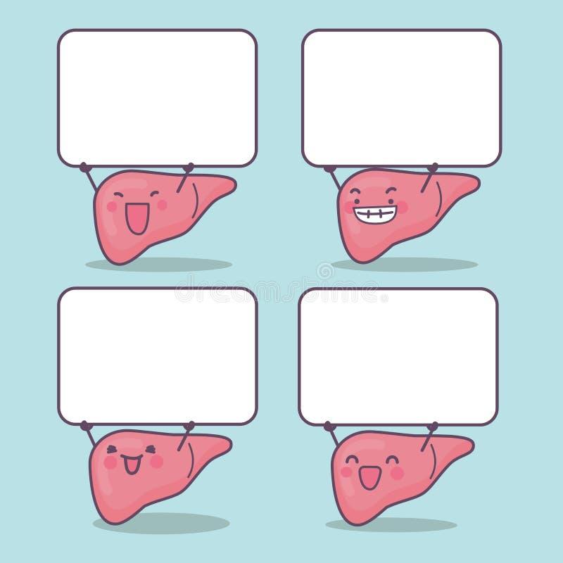 有空白的广告牌的动画片肝脏 库存例证