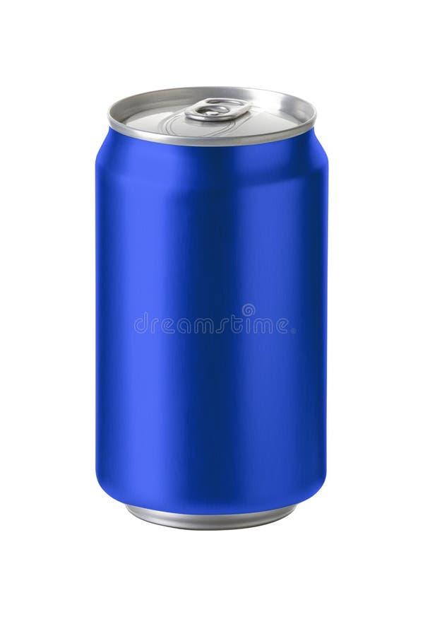 有空白的拷贝空间的蓝色铝罐 库存图片