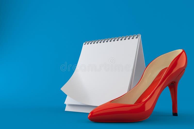 有空白的日历的红色脚跟 库存例证
