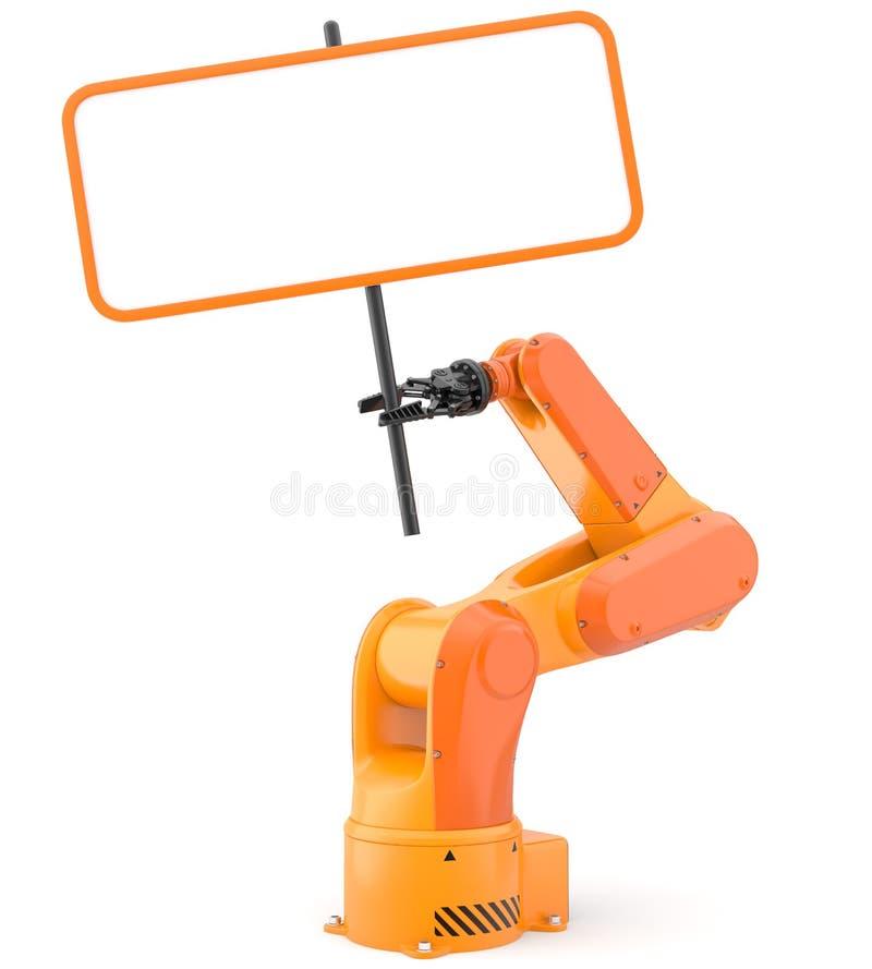 有空白的标志的产业机器人胳膊 皇族释放例证