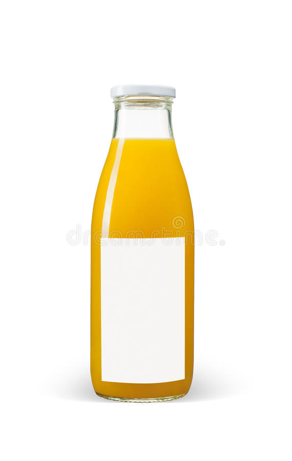 有空白的标签的橙汁瓶在白色背景 免版税库存图片