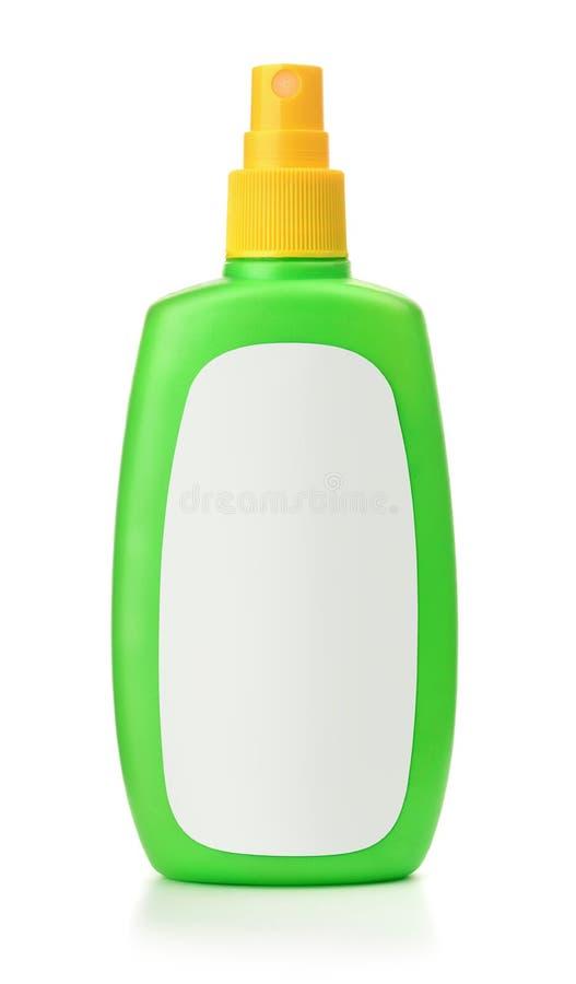 有空白的标签的绿色塑料浪花瓶 库存图片