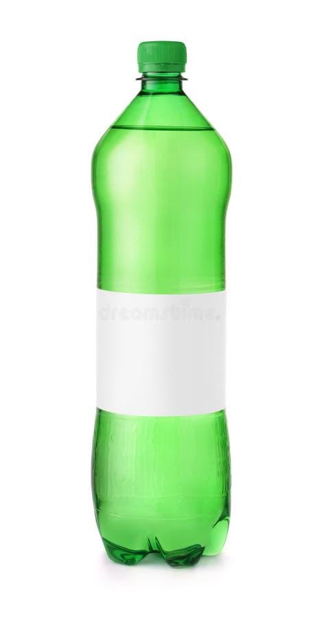 有空白的标签的绿色塑料水瓶 库存照片
