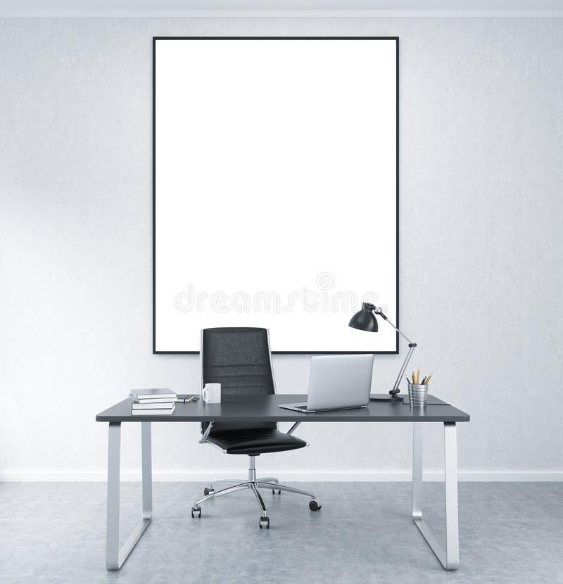 有空白的框架的工作地点墙壁的 向量例证