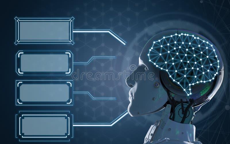 有空白的框架的机器人 免版税库存照片
