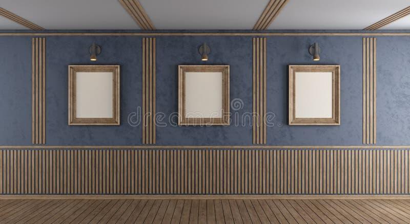 有空白的框架的空的紫色室 向量例证