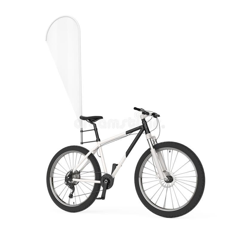 有空白的横幅促进羽毛旗子的山自行车 3d翻译 皇族释放例证
