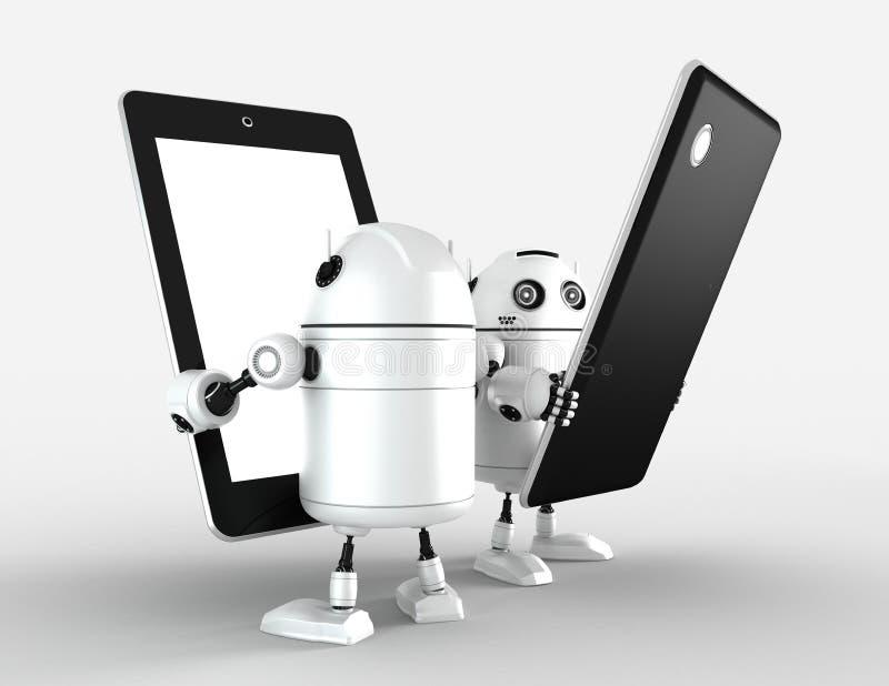 有空白的片剂计算机的两个机器人 皇族释放例证