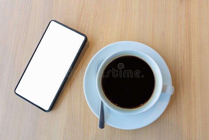 有空白的白色屏幕的智能手机模板backgrou的嘲笑的 免版税图库摄影