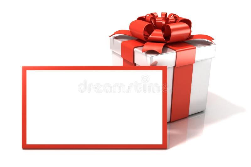 有空白的礼品券的礼物盒 库存图片