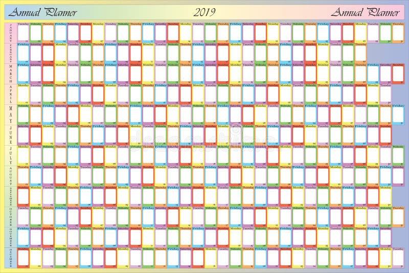有空白的笔记和具体颜色的每年计划者2019年其中每一的 向量例证