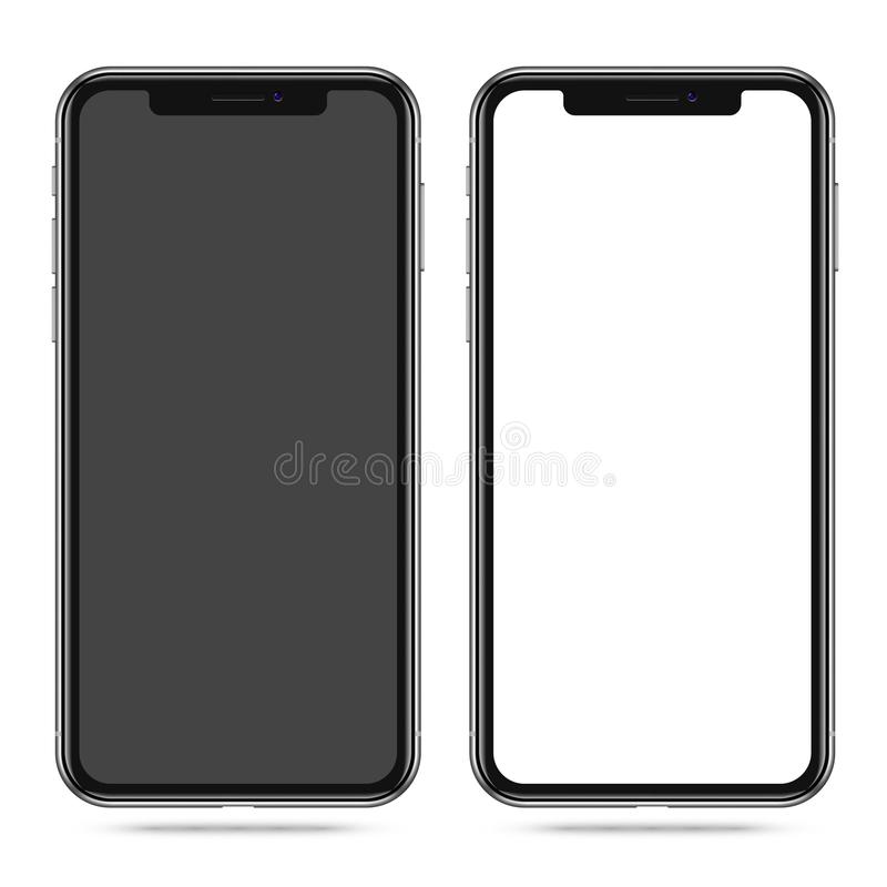 有空白的黑白屏幕的现代智能手机 向量例证