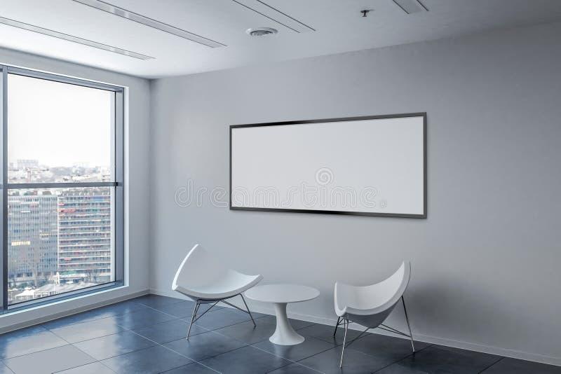 有空白的画框的候诊室在墙壁上 库存例证