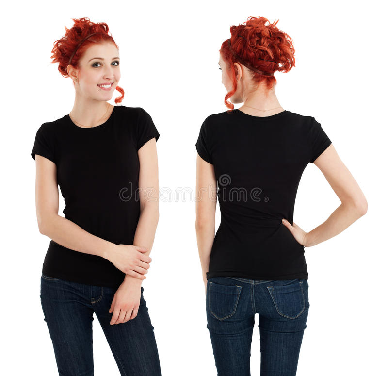 有空白黑色衬衣的华美的女性 免版税库存照片