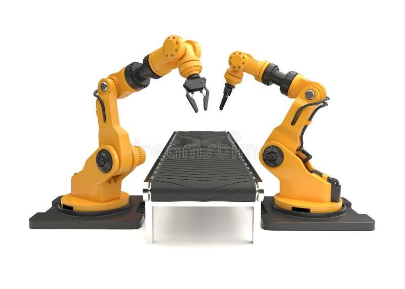 有空的传送带的机器人胳膊在白色背景 皇族释放例证