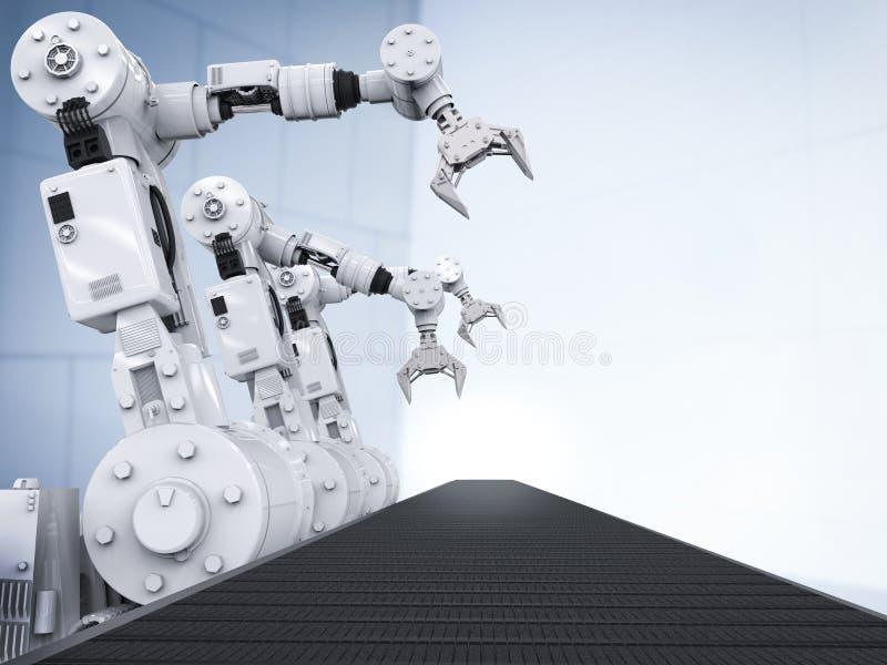 有空的传送带的机器人胳膊 皇族释放例证
