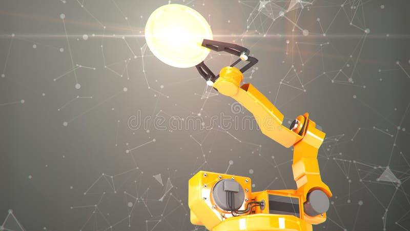 有空的传送带3D翻译的工业机器人胳膊 库存例证