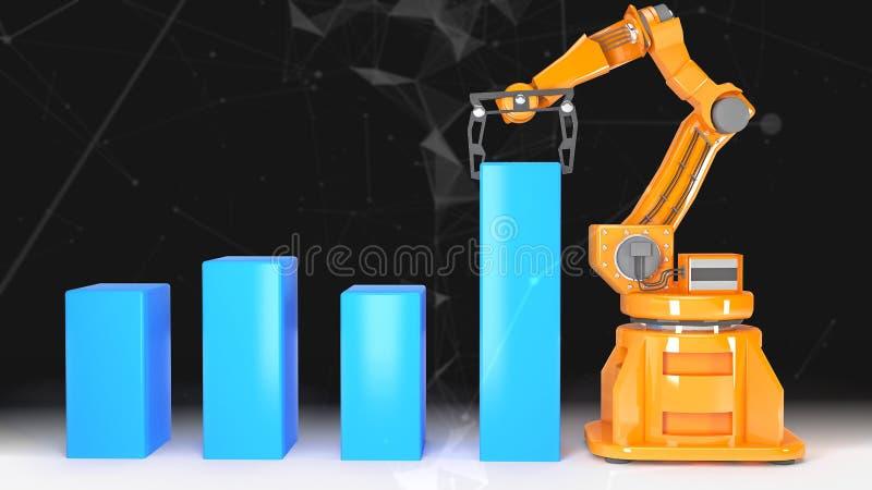 有空的传送带3D翻译的工业机器人胳膊 皇族释放例证