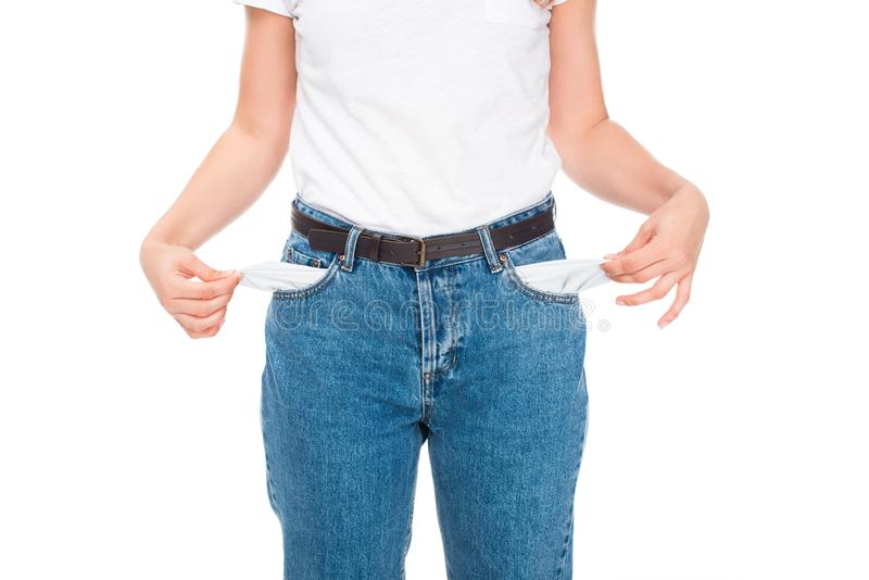 有空的口袋的可怜的妇女 库存照片