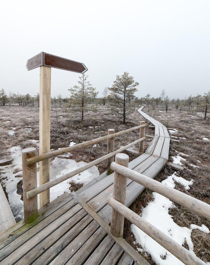 有空的方向标的木木板走道 免版税图库摄影