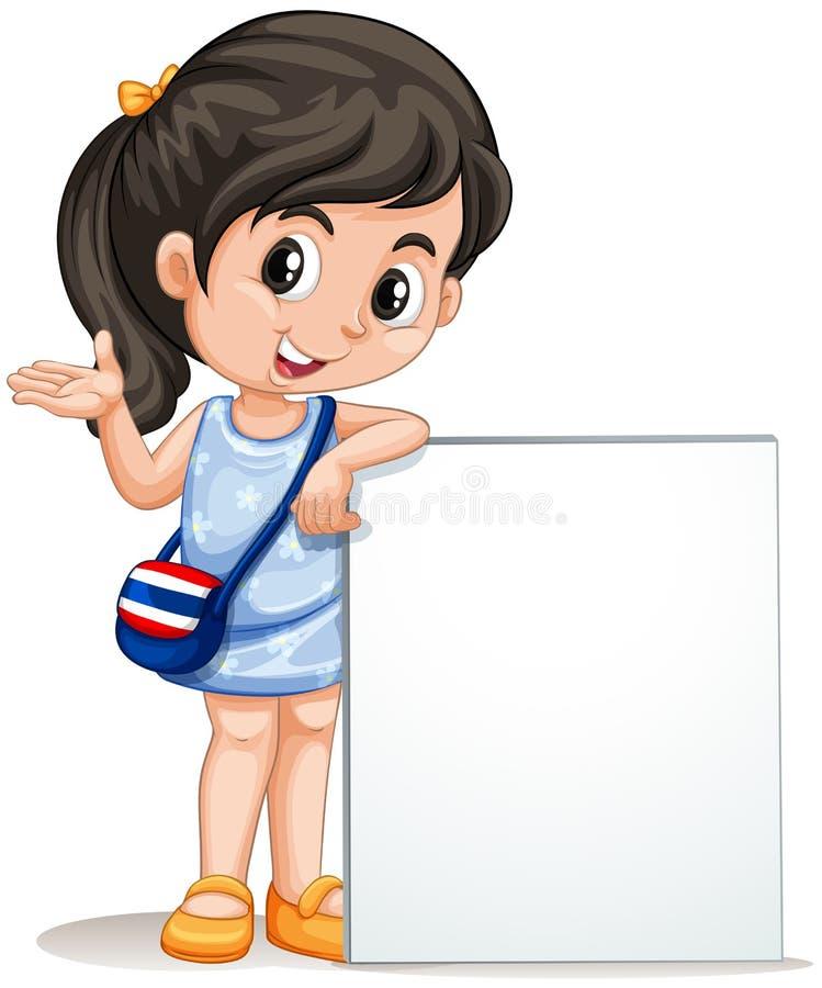 有空的标志的小女孩 库存例证
