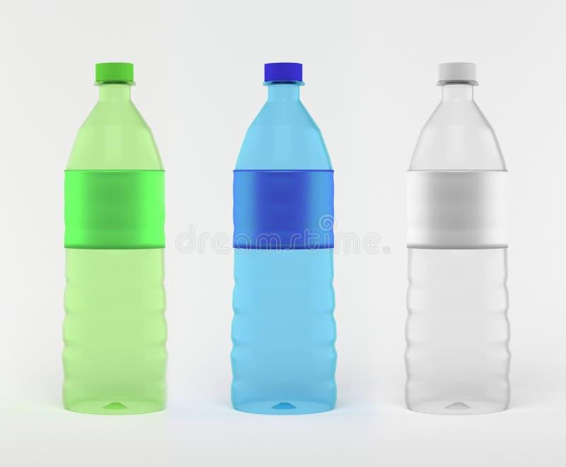 有空的标签的,3D各种各样的颜色饮用水瓶renderi 皇族释放例证