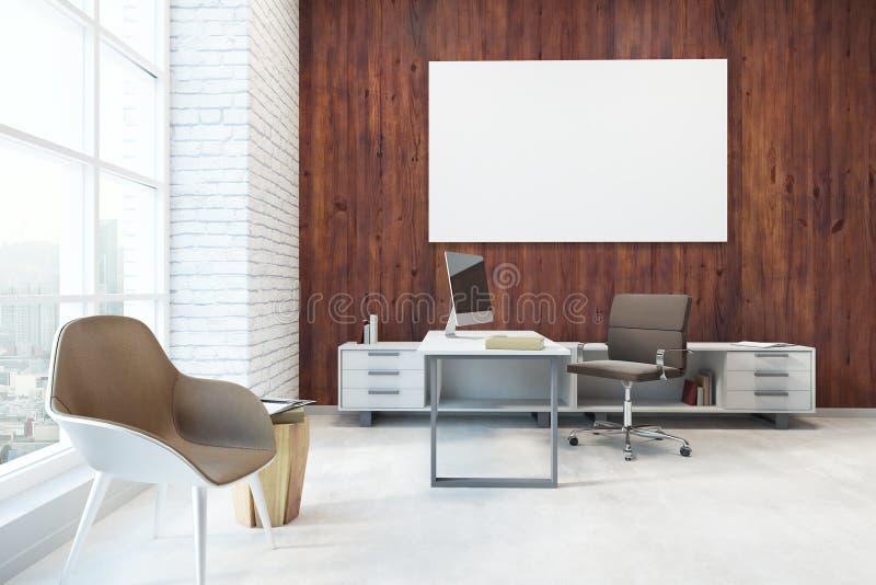 有空的横幅的现代办公室 皇族释放例证