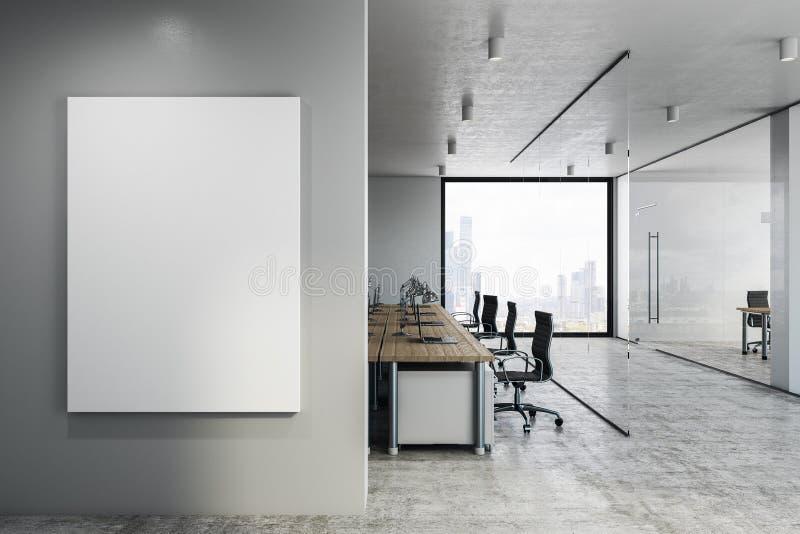 有空的海报的Coworking办公室 库存例证