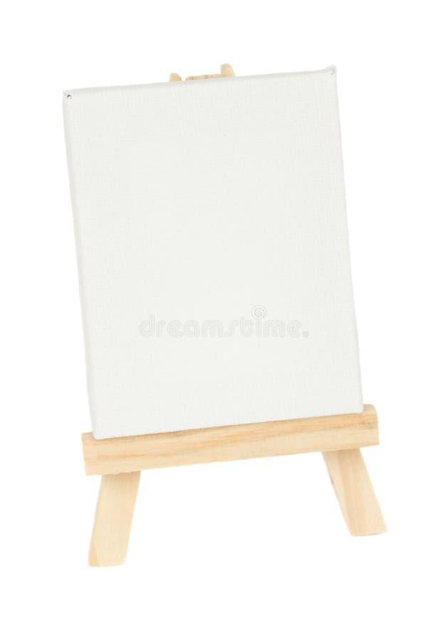 有空的白色帆布的木画架 免版税库存照片
