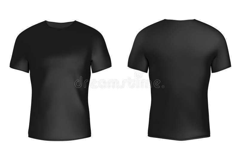 有空的空间的特写镜头黑空白的T恤杉你的设计 3 库存例证