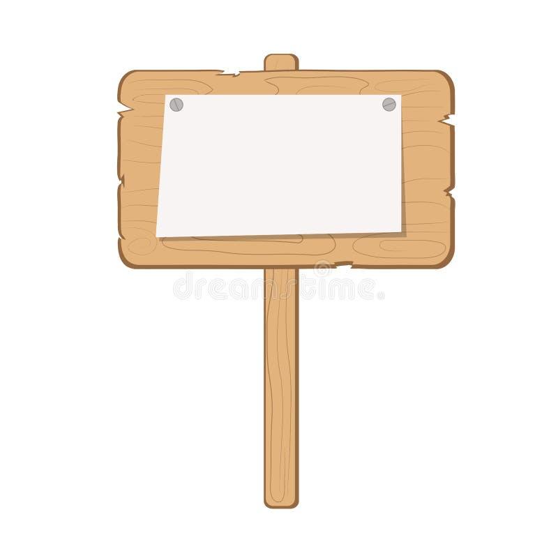 有空的纸名单的木信息委员会在白色,储蓄传染媒介例证 库存例证