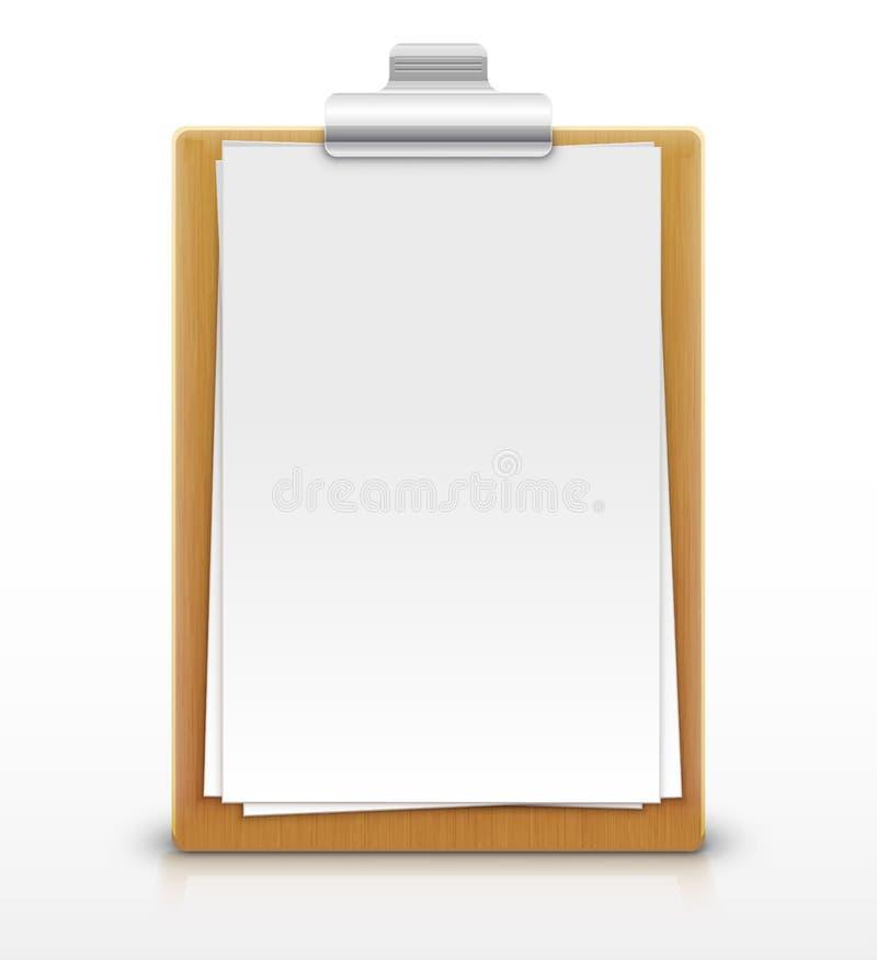 有空的纸片的剪贴板 库存例证