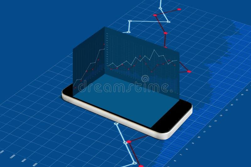 有空的蓝色屏幕和培养的图表背景流动巧妙的电话 挣金钱在手机,网上股市 皇族释放例证