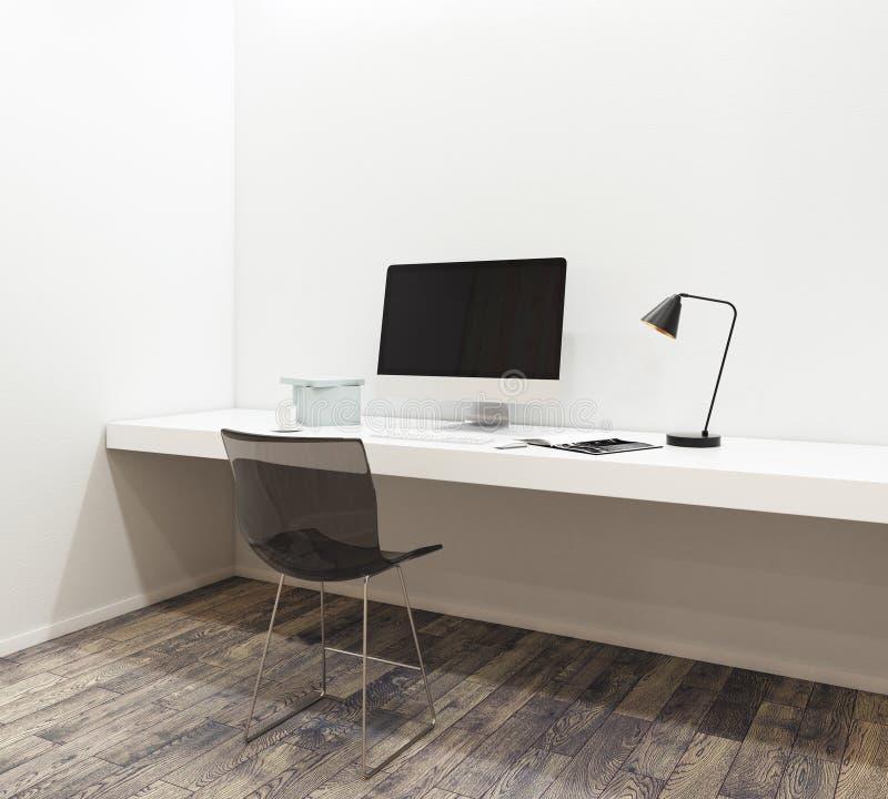 有空的计算机的工作场所在现代内部 库存例证