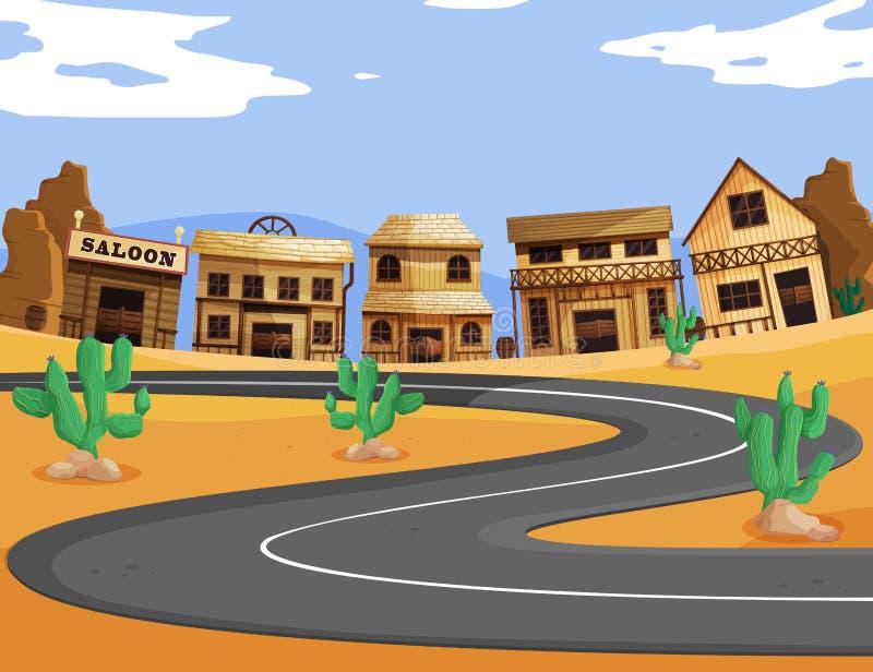 有空的路的西部镇 向量例证