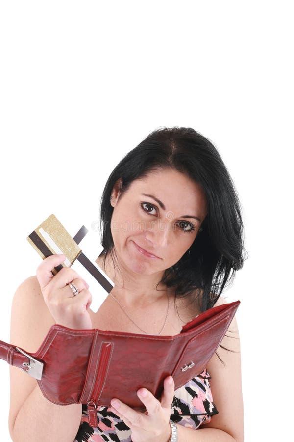 有空的钱包的新白种人妇女 免版税库存图片