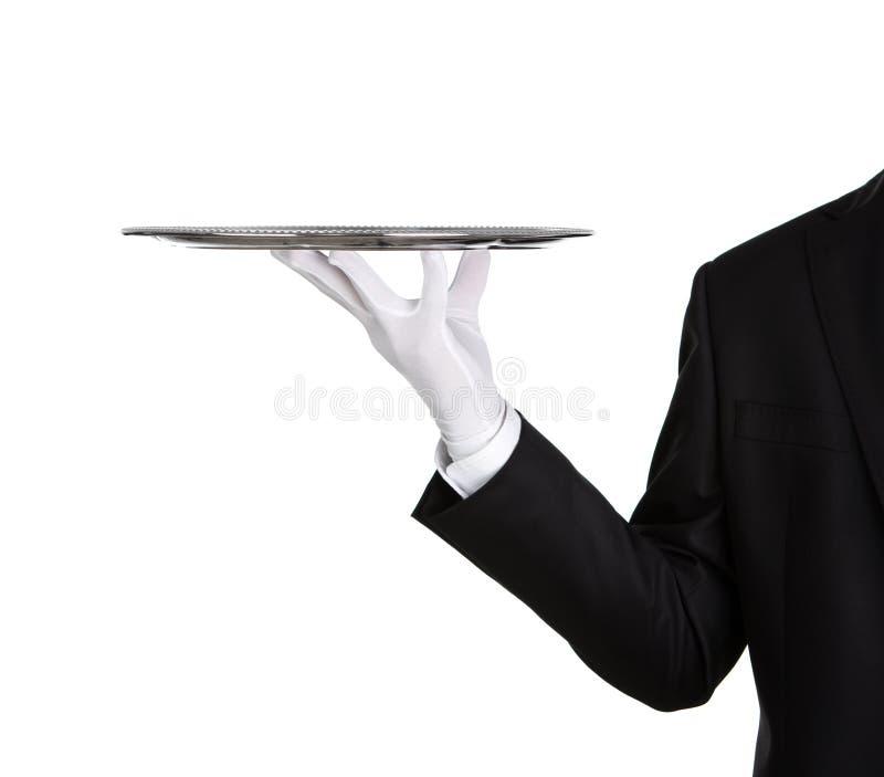 有空的银色盘的等候人员 免版税库存图片