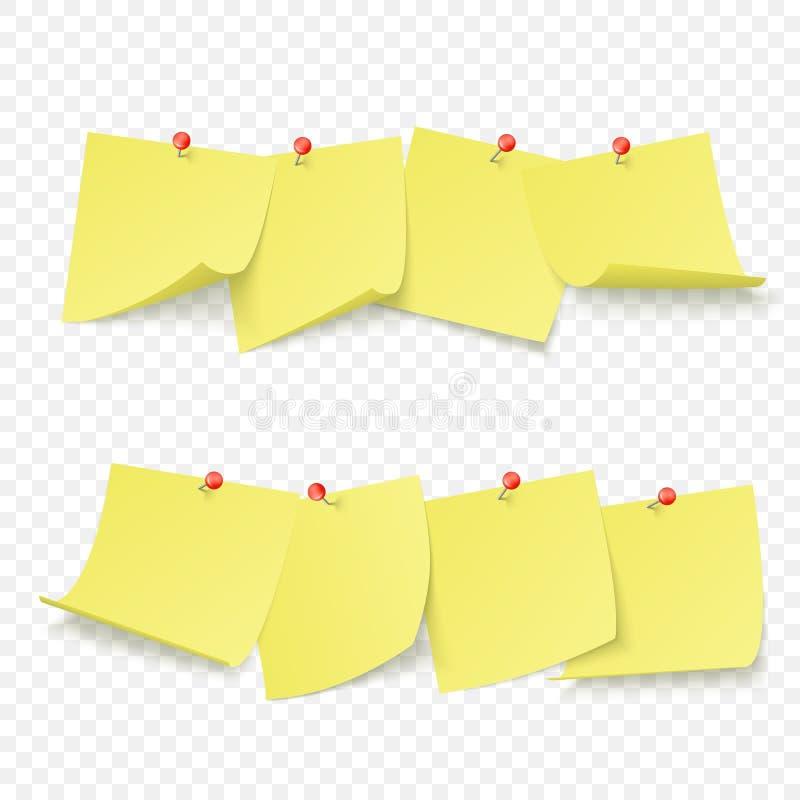 有空的黄色贴纸的提示委员会附有与红色别针 r 向量例证