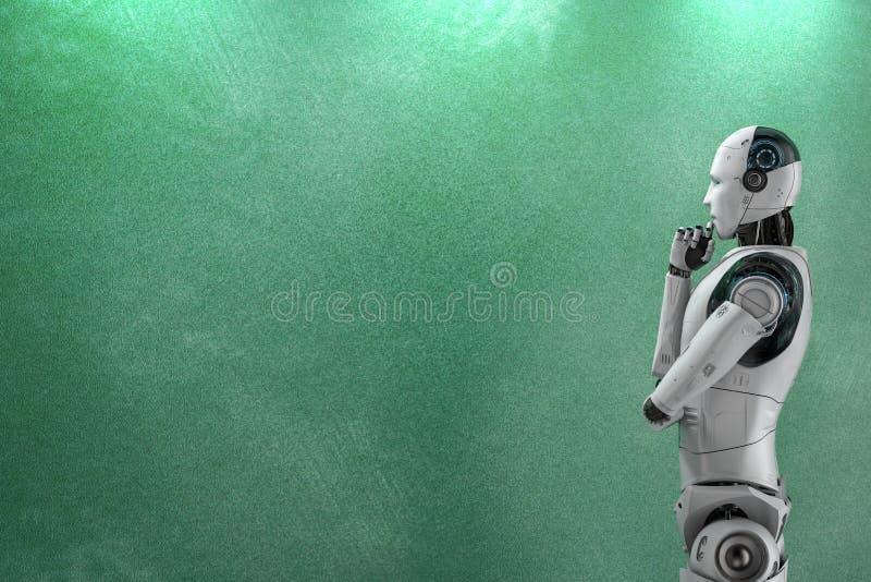 有空的黑板的机器人 皇族释放例证